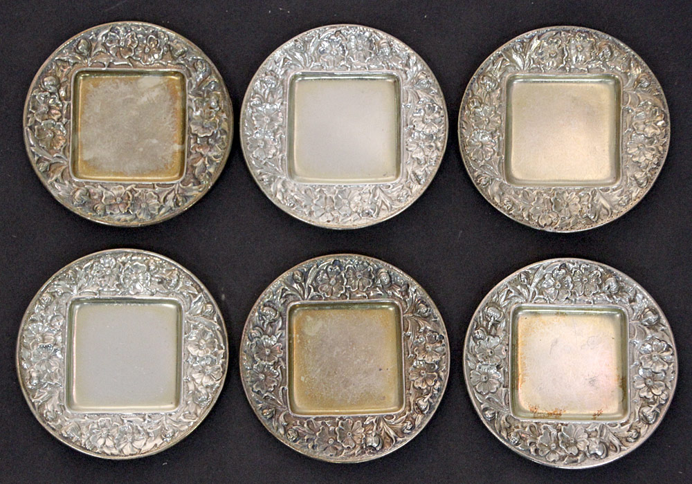 397. Six Gorham Sterling Floral Repousse Trays, #2580. $153.75