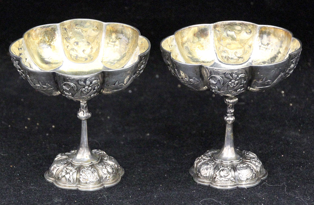 398. Pair of Small 800 Silver Repousse Compotes. $184.50