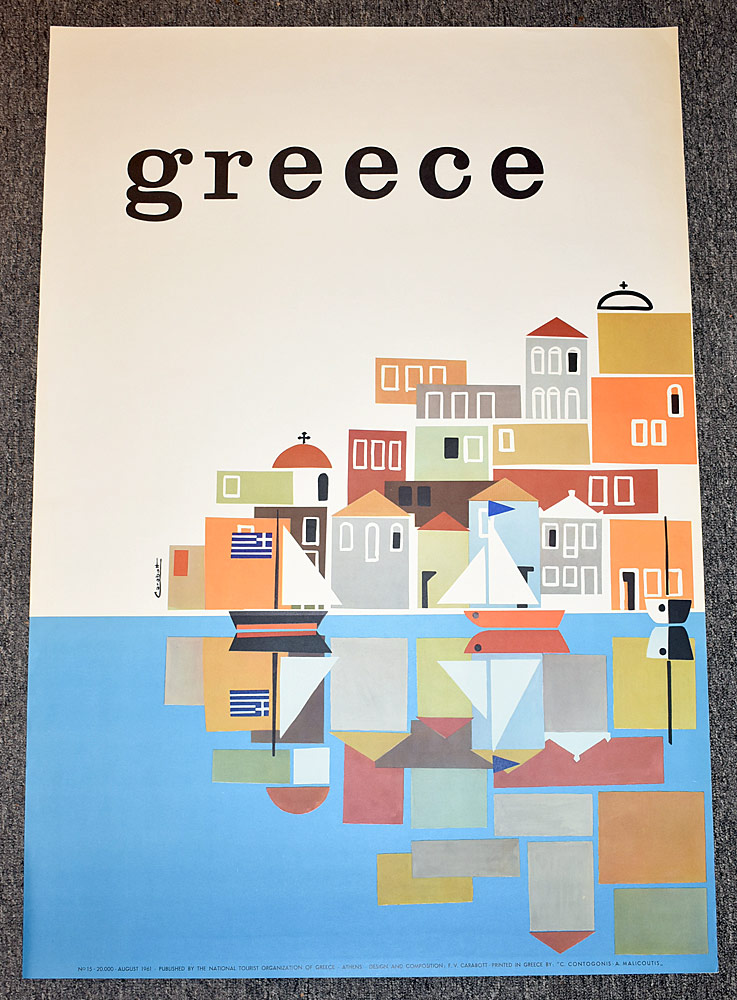 98. Three Greece Travel Posters. $276.75
