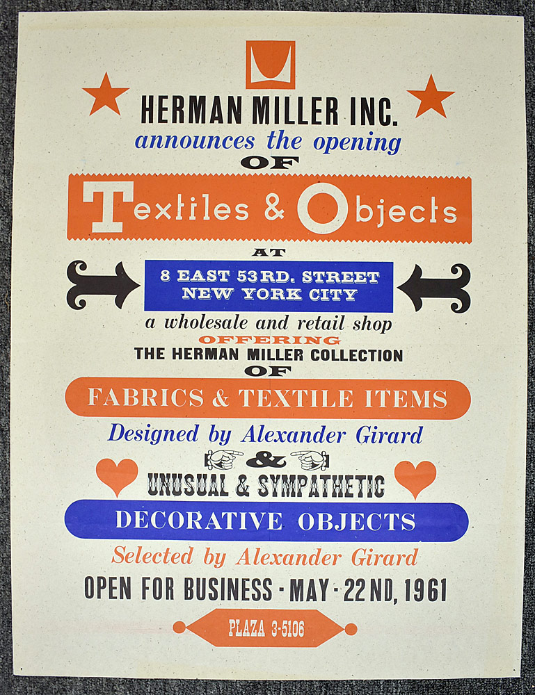 102. Herman Miller Textiles and Objects Poster. $1,107.