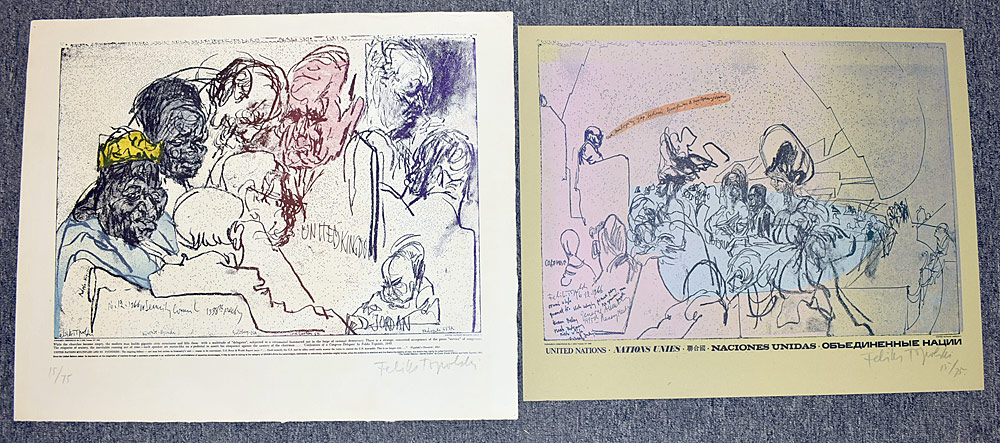 170. Two Feliks Topolski Signed Screenprints. $36.90