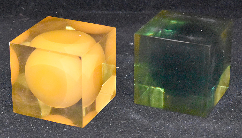 177. Two Enzo Mari Lucite Cube Sculptures. $1,968.