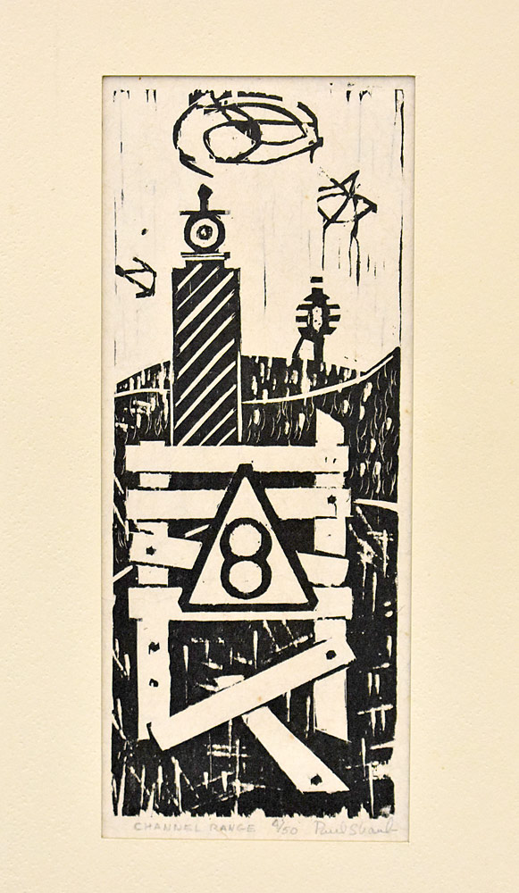 193. Paul Shaub Woodblock Print, Channel Range. $36.90