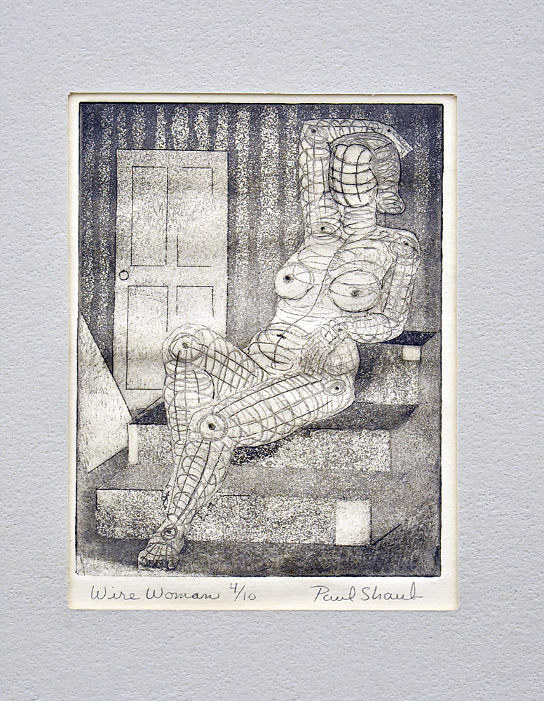 198. Paul Shaub Print, Wire Woman. $61.50
