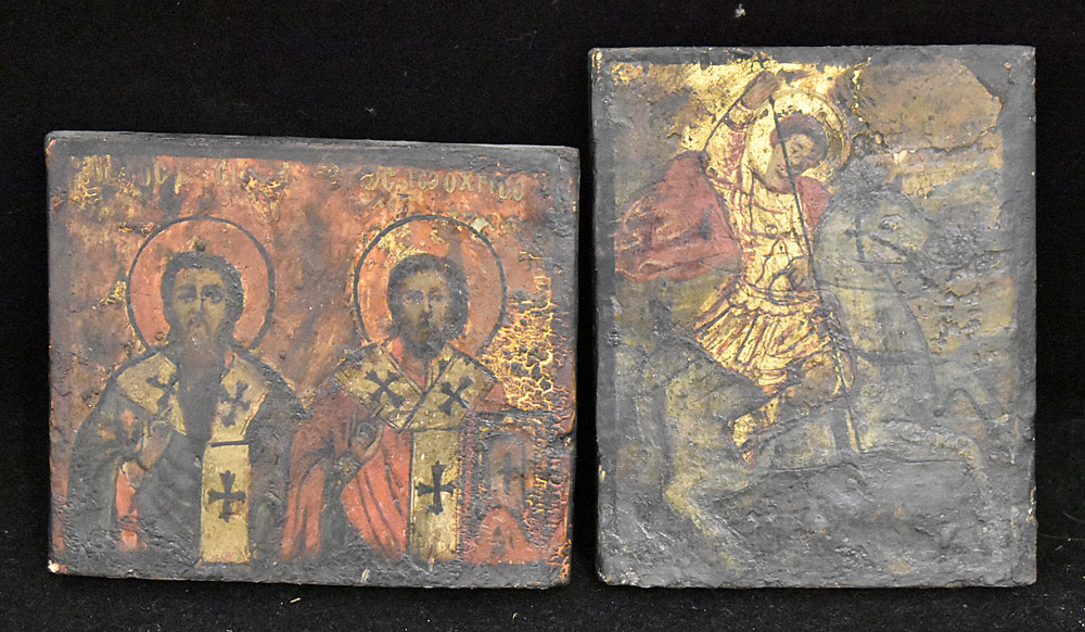 211. Two Painted Russian Icons on Wood. $61.50
