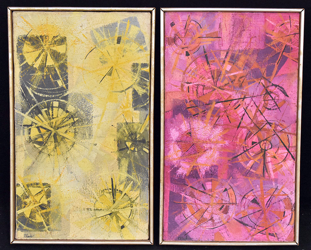 214. Two Paul Shaub Oils on Canvas, Abstracts. $98.40