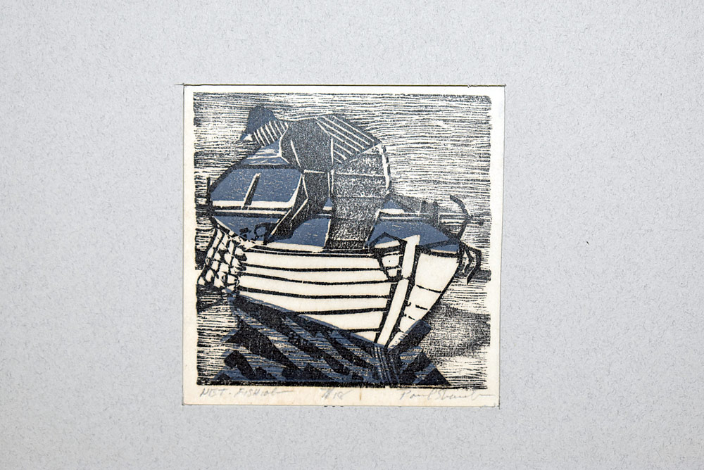 215. Paul Shaub Woodblock Print, Net Fishing. $49.20