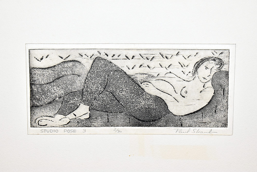 216. Paul Shaub Woodblock Print, Studio Pose 3. $24.60