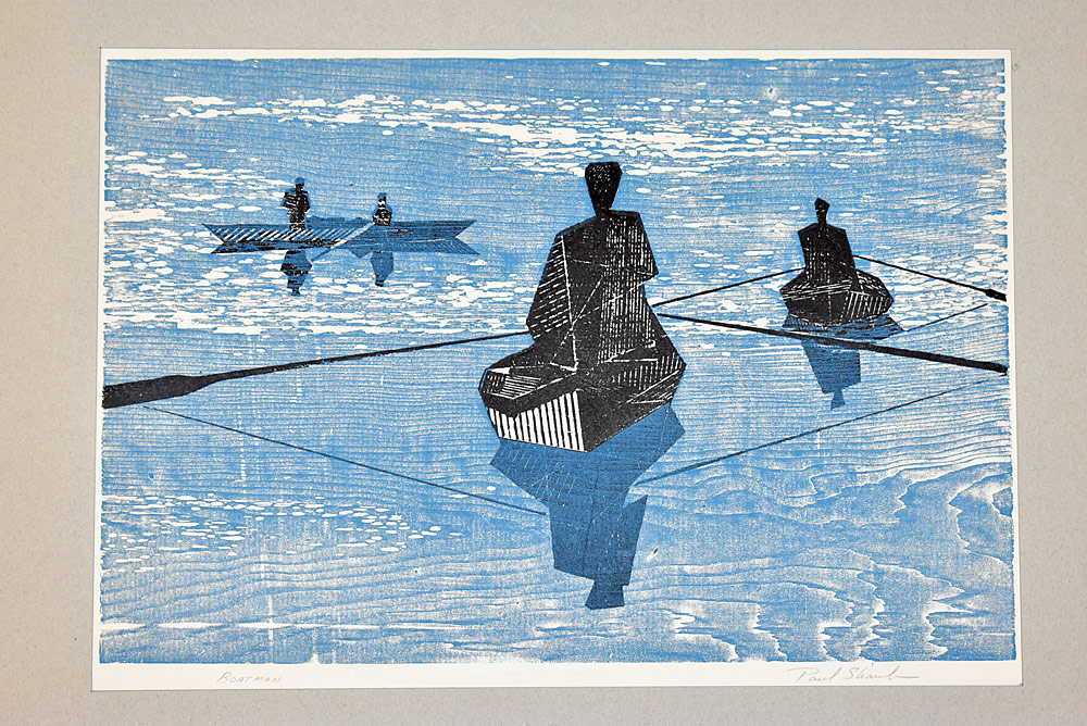 217. Paul Shaub Woodblock Print, Boatman. $153.75