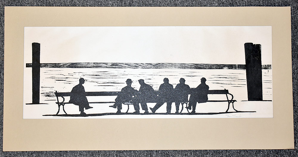 218. Paul Shaub Woodblock Print, Benchmen. $184.50