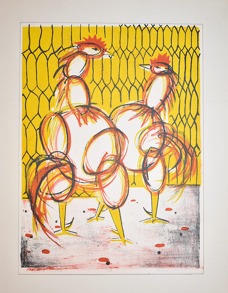 225. Paul Shaub Lithograph, Game Cocks. $24.60