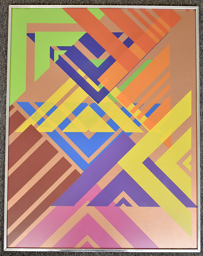 236. Paul Shaub Serigraph, Open Triangles on Copper. $184.50
