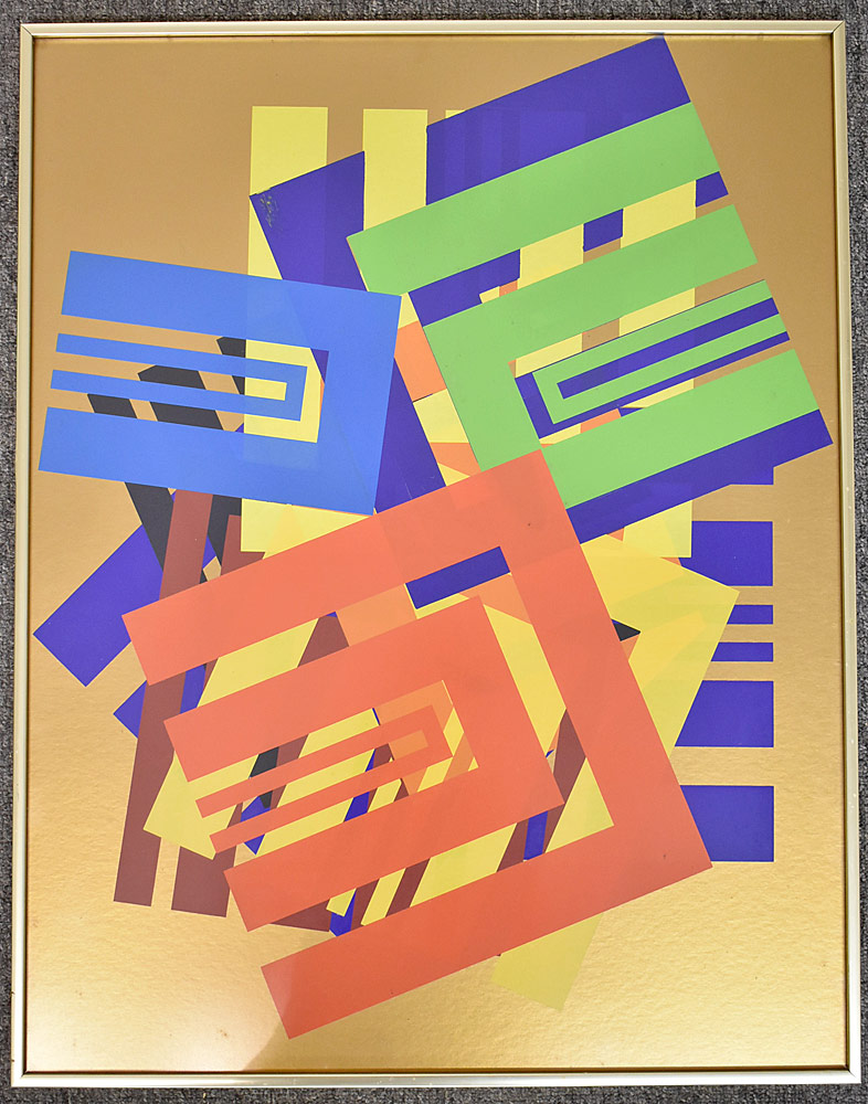 237. Paul Shaub Serigraph, Open Squares on Copper. $153.75