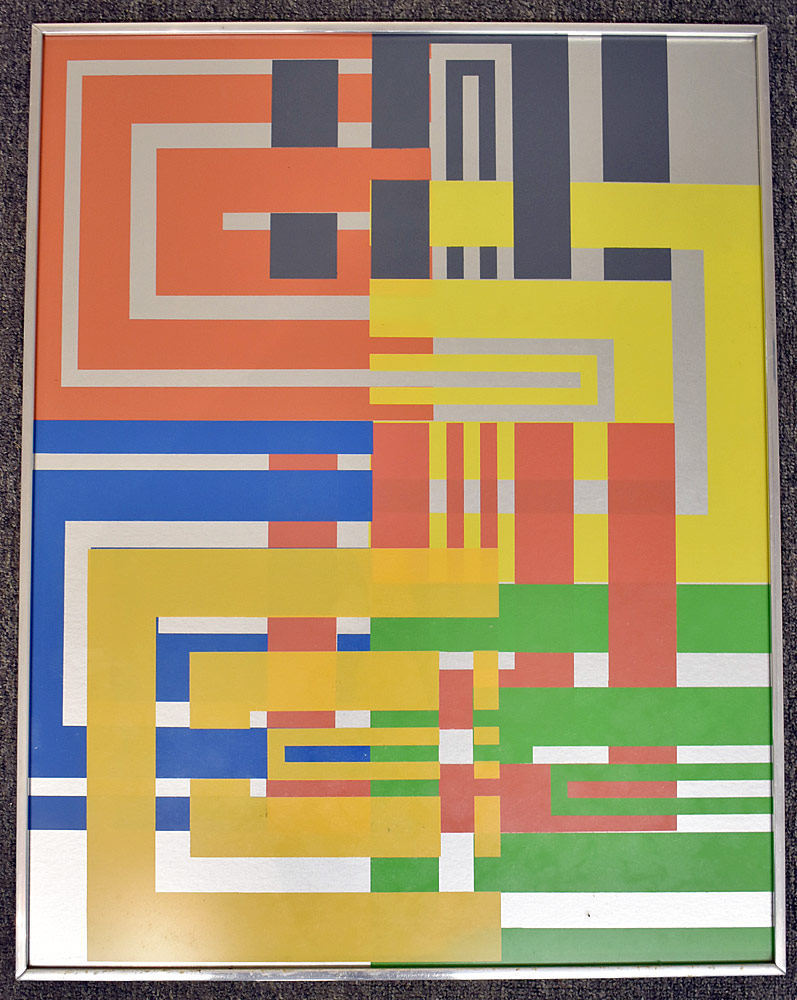 249. Paul Shaub Serigraph, Open Squares on Silver. $215.25