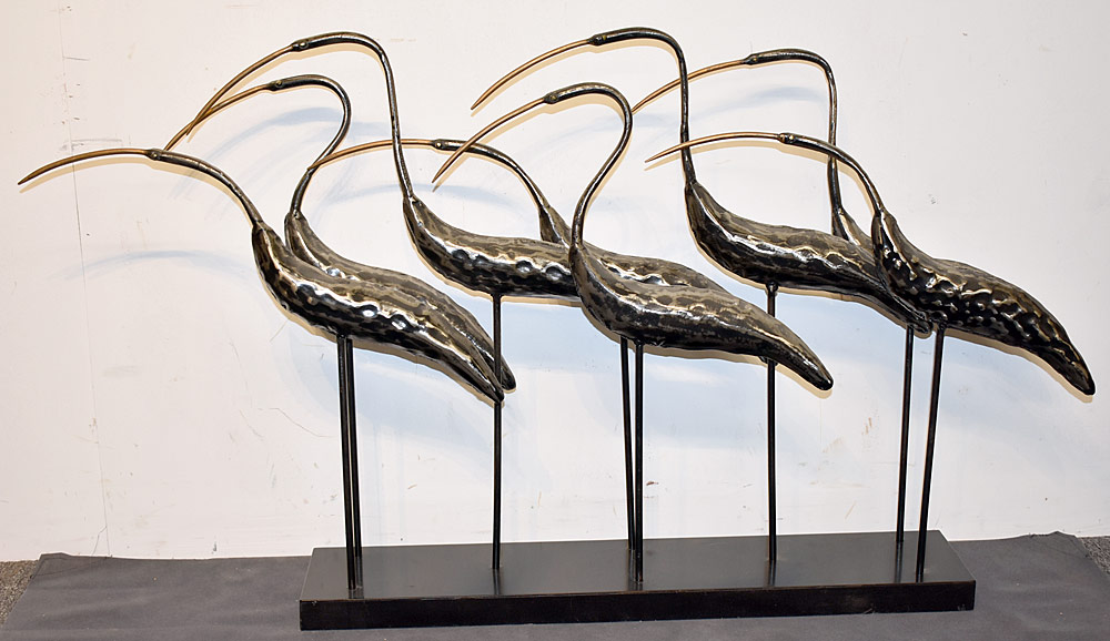 254. Curtis Jere-style Tabletop Sculpture, Egrets. $215.25