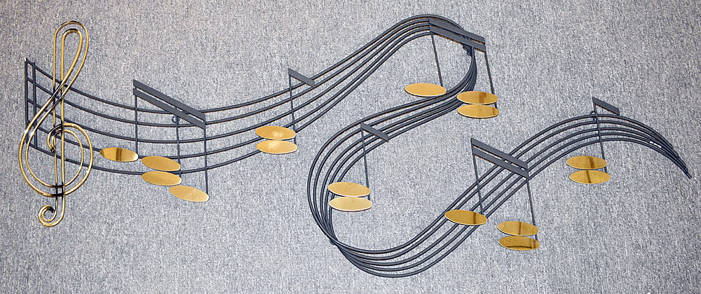 255. Curtis Jere Wall Sculpture, Musical Score. $184.50