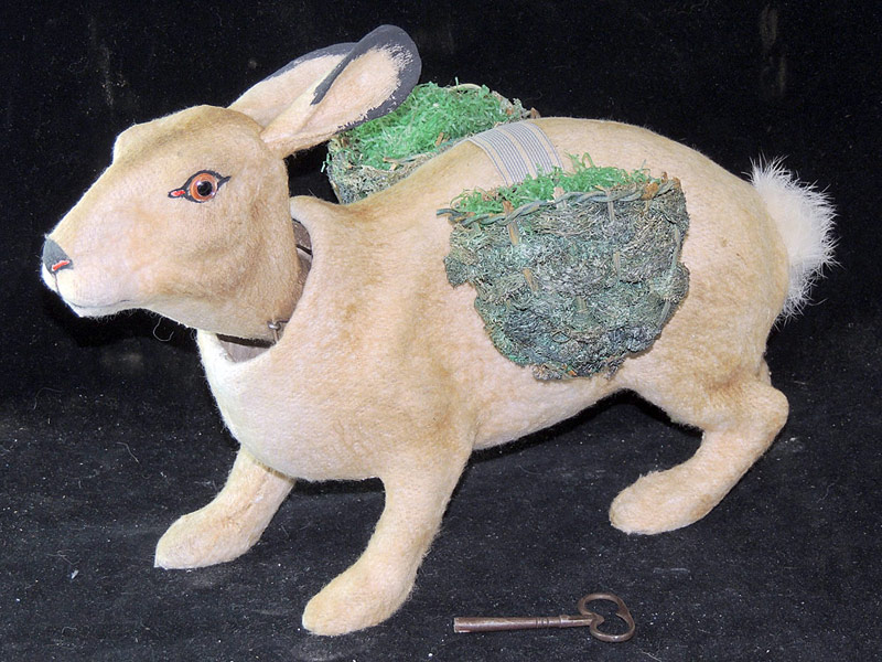 Large Mohair/Paper-Mache Rabbit Clockwork Nodder. $6,490