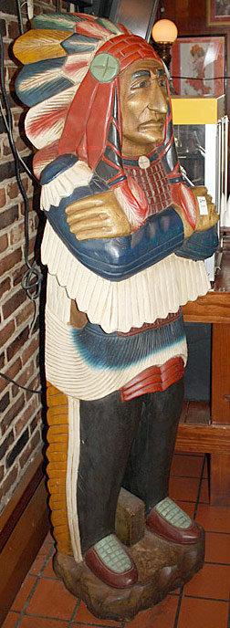 The Towne House Collection:  Wood Carved/Painted Cigar Store Indian Chief. $2,990