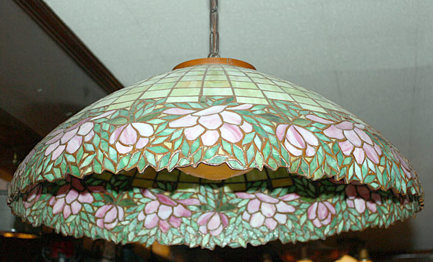 The Towne House Collection: Floral Tiffany-style Leaded-Glass Hanging Shade. $1,265