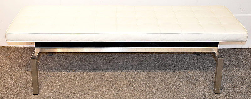 9. Modern Tufted White Leather Bench | $177