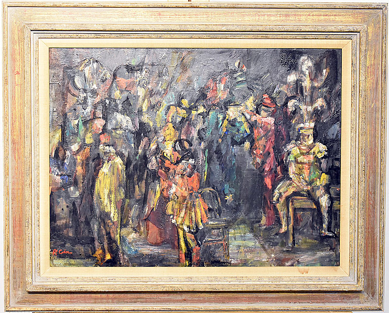 12. Philip Cohn. Oil/Panel, Abstract Theater Scene | $123