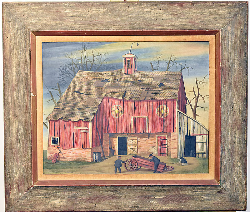 14. John Oliver Sharp. Oil/Panel, Amish Barn | $123