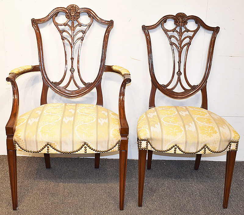 34. 12 Karges Federal-style Mahogany Dining Chairs | $10,455