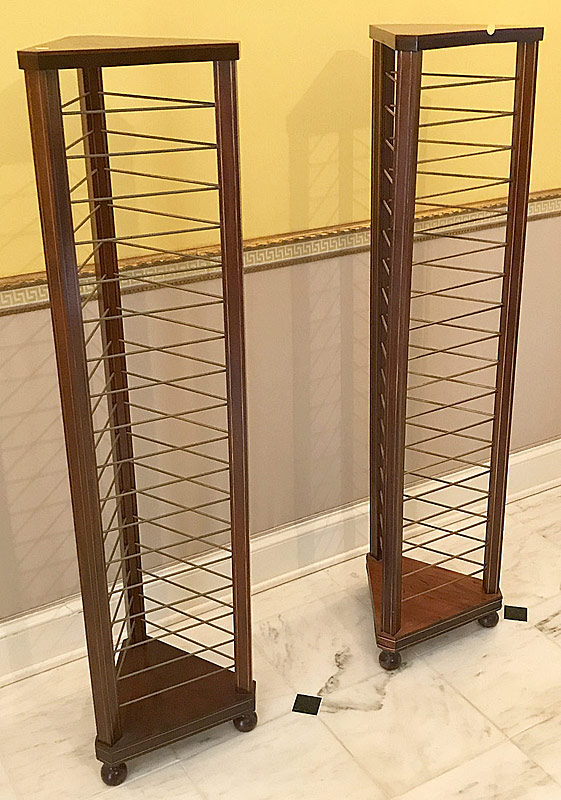 35. Pair of Brass Inlaid Mahogany Plate Stands | $59