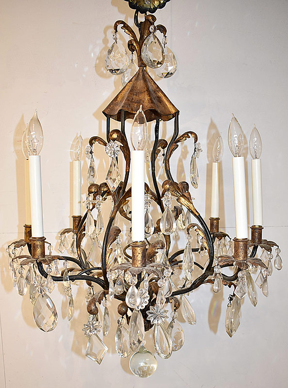 38. Decorator Wrought Iron & Gilt Metal 8-Arm Chandelier | $649