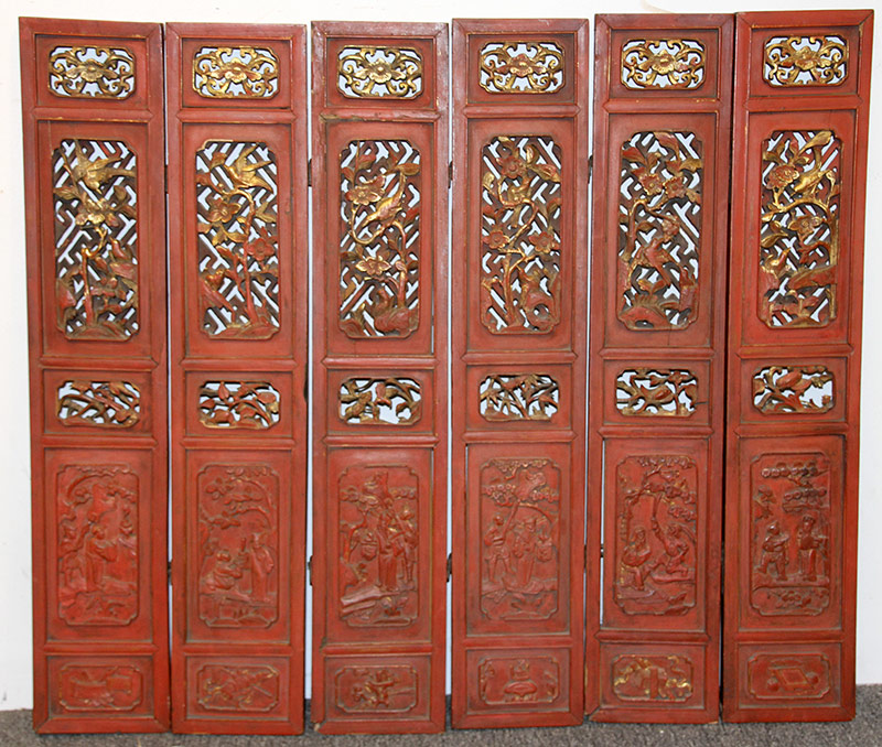 52A. Chinese Red-Lacquered Six-Panel Miniature Screen | $59
