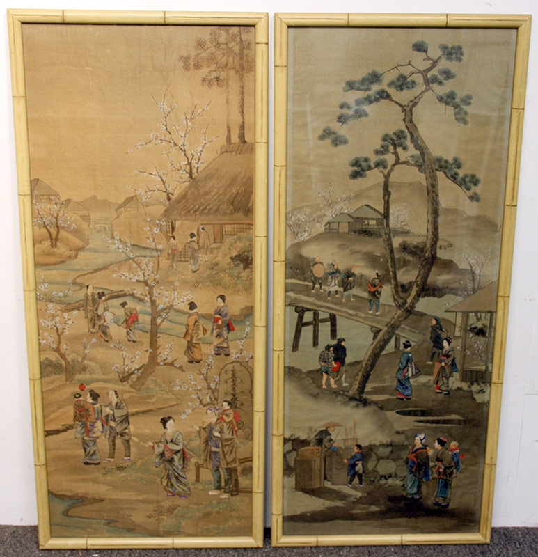 52B. Pr. Chinese Paintings on Silk: Figural Scenes | $590