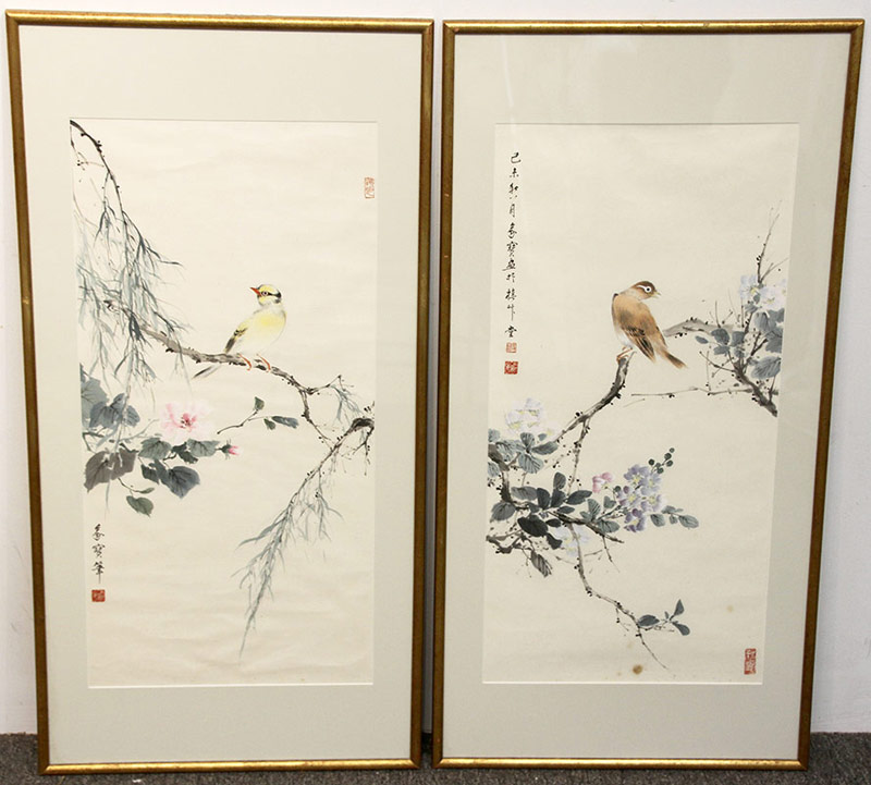 52C. Pr. Chinese Watercolors: Birds on Branches | $276.75