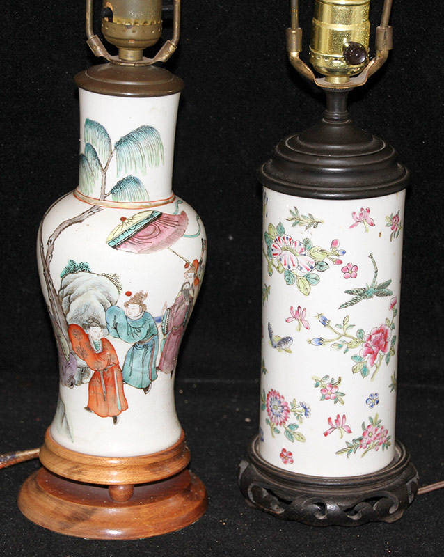 52D. Two Chinese Porcelain Vase-form Table Lamps | $295