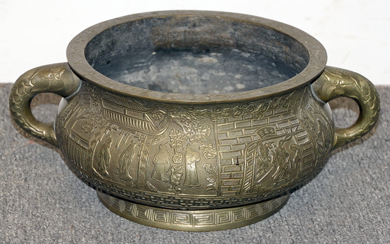 53B. Large Chinese Bronze Censer with Fish Handles | $1,534