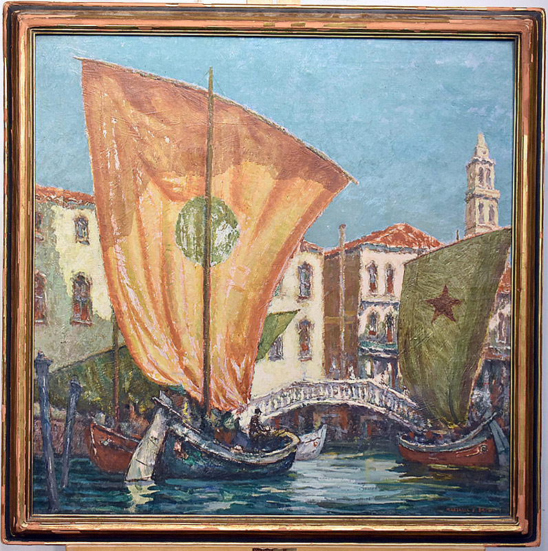 54. Marshall D. Smith. Oil/Canvas, Venetian Scene | $118