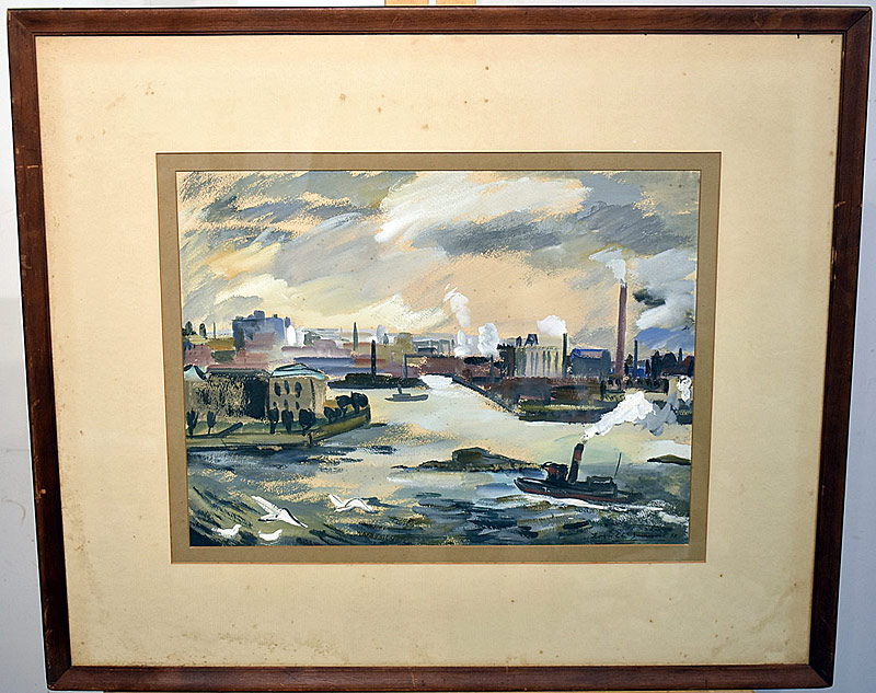 57. American School Watercolor, Urban Harbor Scene | $94.40