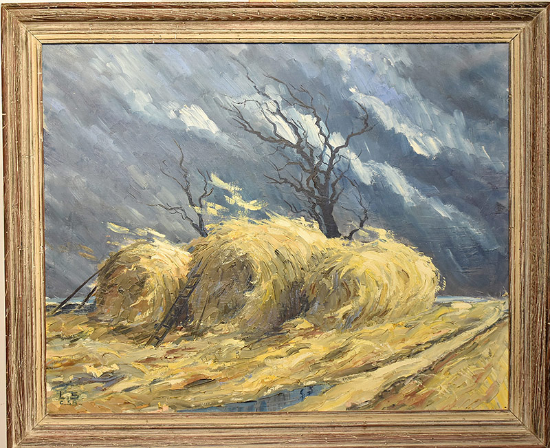 "62. Initialed ""L.S.\"" Oil/Canvas, Field Landscape 