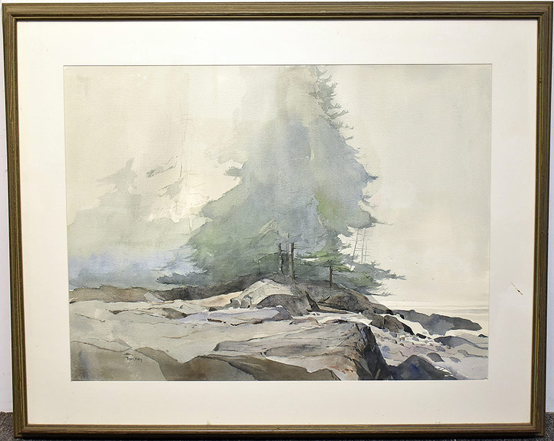 64. Tom Key. Watercolor, Rocky Landscape | $383.50