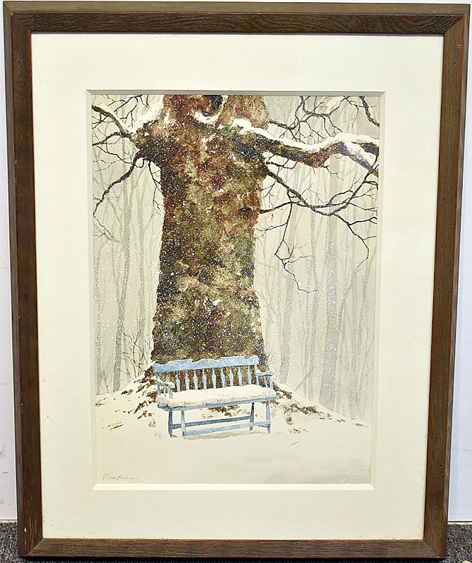 65. Richard Bollinger. Watercolor, Tree & Blue Bench | $206.50