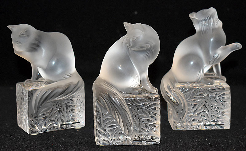 67. Three Lalique Frosted Glass Cat Paperweights | $522.75