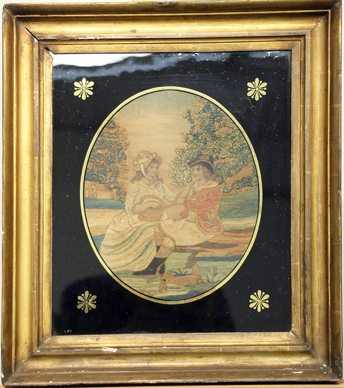 75. 19th C. Silk Embroidery: Courting Scene | $354