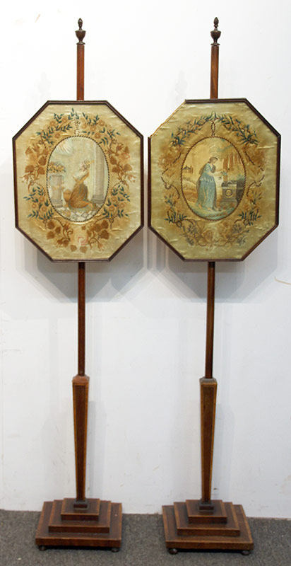 78. Pair of Regency Silk Embroidered Pole Screens | $531