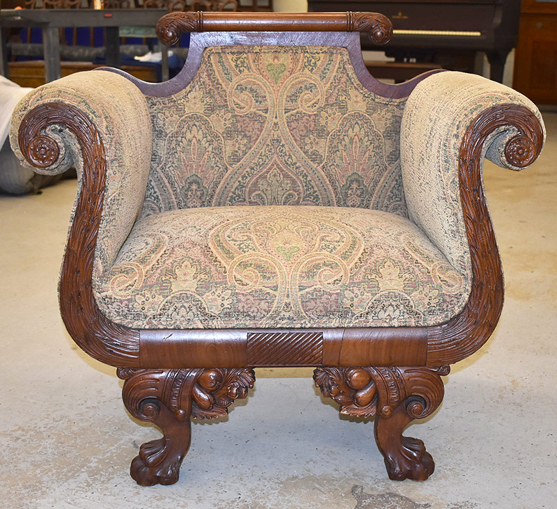 83B. Classical Carved Armchair on Carved Paw Feet | $246
