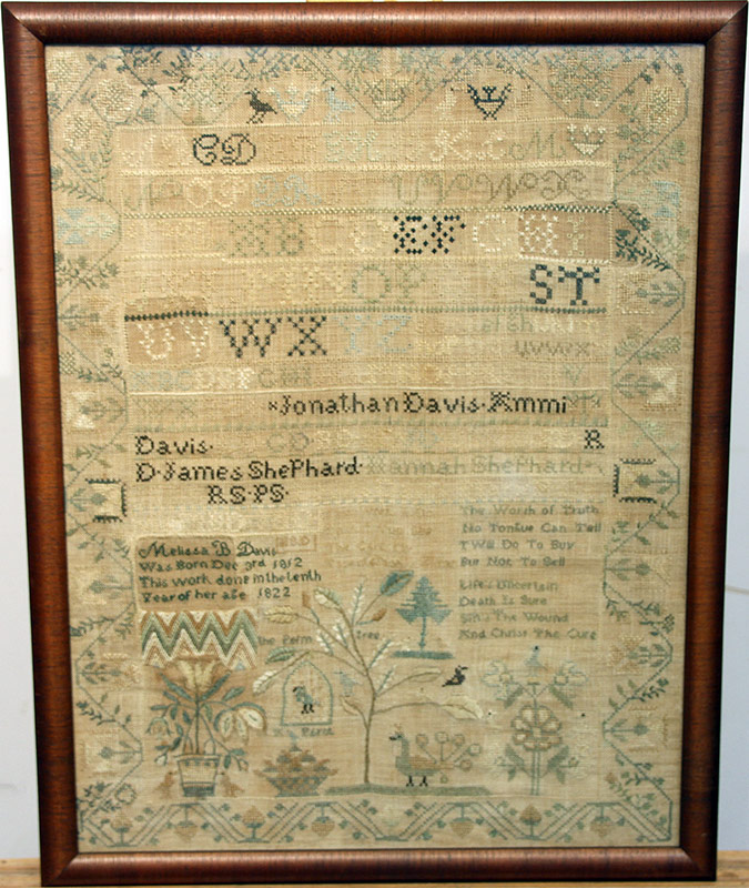 95. 1822 New Jersey Needlework Sampler, Melissa B. Davis | $4,248