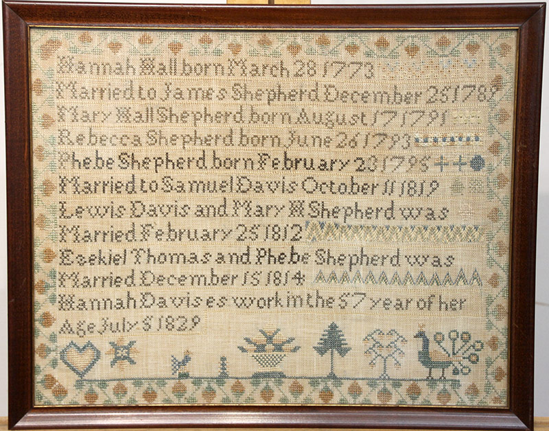 96. 1829 New Jersey Needlework Sampler, Hannah David | $885
