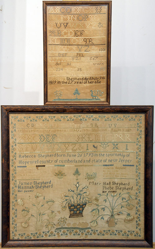 98. Two 1809 New Jersey Needlework Samplers, R. Shepherd | $885