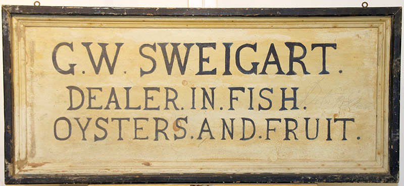 101. G.W. Sweigart Painted Trade Sign | $708