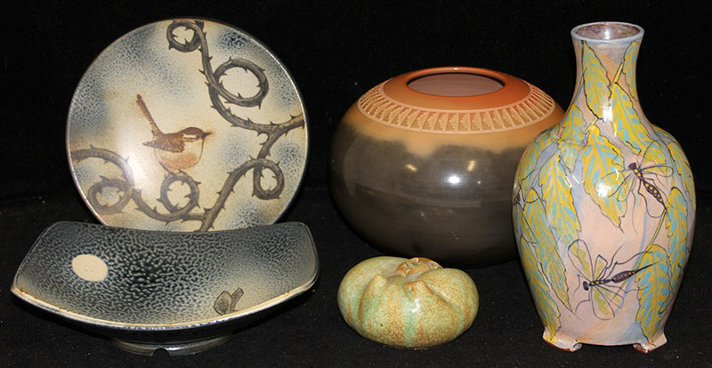 108. Five Piece Studio Pottery Grouping | $177