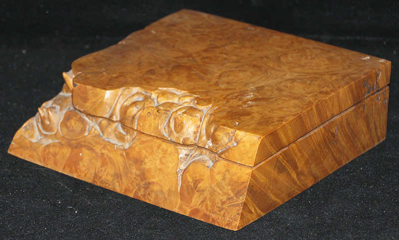 110. Michael Elkan. Burlwood Box with Divided Interior | $118