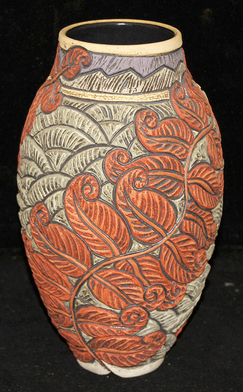 112. Deb Leair. Carved/Painted Pottery Coil Vase | $106.20